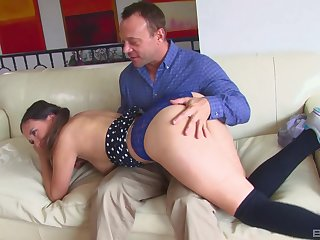 Old man fucks younger step daughter and cums on her face