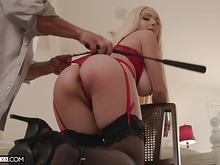 Arse whipped and secured up during sex for a complete maledom
