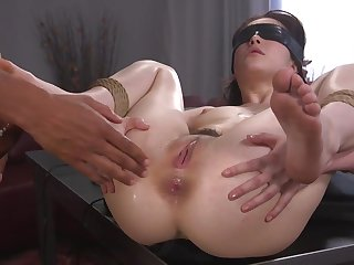 Helpless girl is tied, blindfolded and fucked in be imparted to murder ass