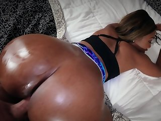 Bootylicious Dark-skinned girl with pierced nipples owned on camera