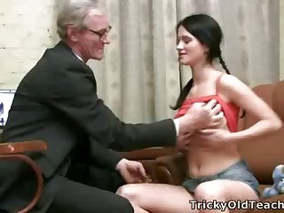 Hot young brunette spreads her legs wide open increased by rides her old teacher's permanent cock