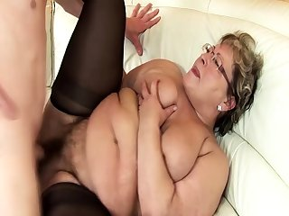 ugly bbw grandma ground-breaking rough fucked by stepson