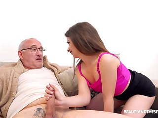 Sexy younger babe Mary Jane enjoys having mating with an older dude