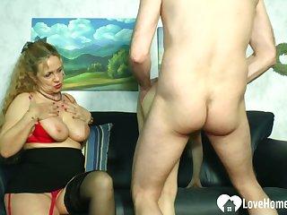 Beauteous mistress teaches a hottie how to please