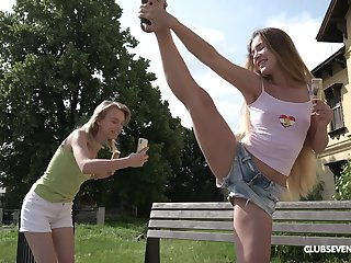Picnic in nature turns to lesbian sexual congress adventure for horny Candy Teen