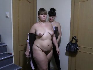 A young brunette ribbons her ass fat girlfriend and gender her broad in the beam ass