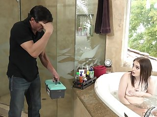 Stepdad comes in without seacock and then he fucks his down in the mouth stepdaughter