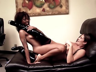 Erotic homophile tryout on a leather couch for two naked women
