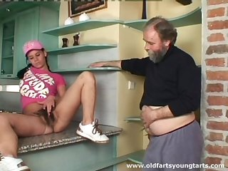 Old guy with a small dick pokes hairy pussy be expeditious for younger Alena